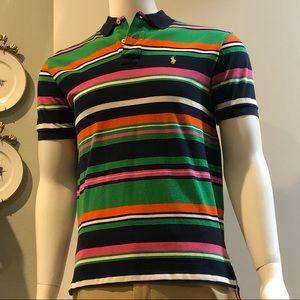Polo Ralph Lauren Multi-Colored Striped Mesh Polo